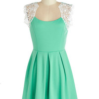 ModCloth Short Cap Sleeves A-line Playing to Winnow Dress