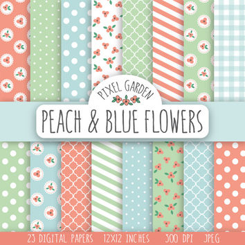 Shabby Floral Digital Paper Pack. Cottage Chic Scrapbooking Paper. Peach Flowers Printable Paper Set. Peach, Mint, Baby Blue.