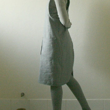GREY LINEN PINAFORE / women / criss cross back / linen smock / linen dress / artist smock / full apron / work / linen clothing / pamelatang