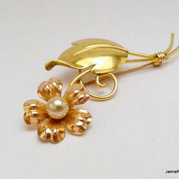 Vintage Van Dell Flower Brooch Pin in 1/20 12KT GF with Faux Pearl Center - Yellow and Rose Gold Fill Brooch - Designer Brooch Pin / Hat Pin