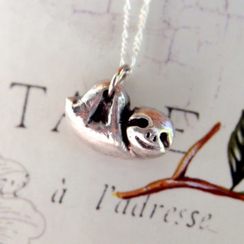BABY SLOTH in solid fine silver - handmade animal jewelry -  pmc jewelry - unique jewelry eco friendly
