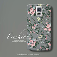 samsung galaxy s5 case galaxy s4 case samsung s3 case samsung galaxy note 3 case samsung note 2 case grey flowers floral phone cover g02