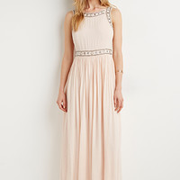 Beaded Crepe Maxi Dress