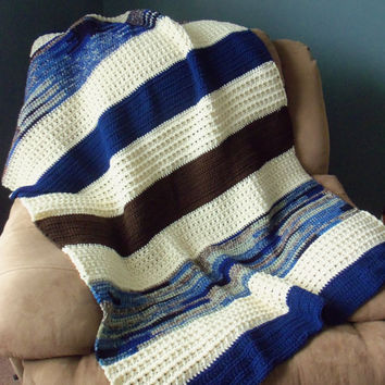 Brown Aran and Navy Blue Crochet Throw by SnugableTouches on Etsy