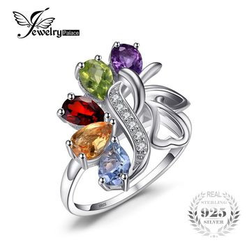 JewelryPalace Brand 2.5ct Genuine Amethyst Garnet Peridot Topaz Pure Rock Quartz Solid 925 Sterling Silver Gem Stone Bijoux Ring
