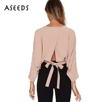 Elegant solid Women blouse Autumn Sexy three quarter back bow Crop Tops blusas 2017 O NECK strappy office shirt chemisier femme
