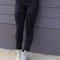 Manhattan Skyline Black High Waisted Distressed Denim Legging