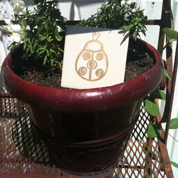 Gold Ladybug Whimsical Victorian Style Garden Stepping Stone