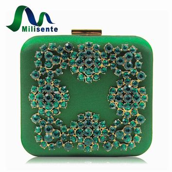 Milisente New Retro Wind Satin Fabric Women Purse Evening Bags Blue Diamond Box Clutch Ladies Wedding Purses Party Bag