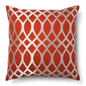 Threshold™ Metallic Geo Print Decorative Pillow - Red (Square)