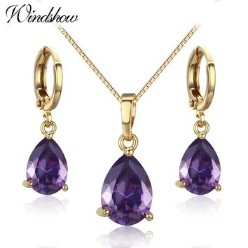 "Yellow Gold Color Pear Cut Purple CZ Small Teardrop Earrings Pendant Necklace For Fashion Women Girls Jewelry Sets Gift 18"" 45cm"