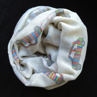 Retro Mini cars Print Scarf