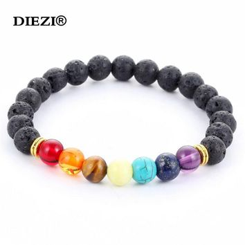 new 2016 design mens bracelets black lava 7 chakra healing balance beads bracelet for men women rhinestone reiki prayer stones  7