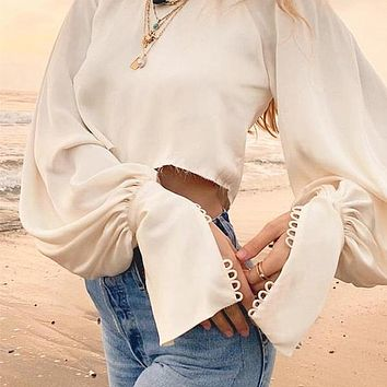 Lantern Sleeve Vintage Solid Sexy Women Blouse Shirt Satin Party Button Sleeve Chic Blouse Shirts Crop Tops Blusa Mujer