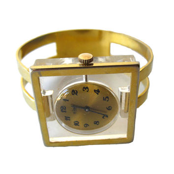 Mid Century Mod Le Jour Mechanical 17 Jewelry Watch Bracelet With Lucite Front and Skeleton Back / Wind Up Womans Watch / Working