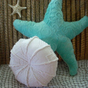 Sea urchin pillow, vintage chenille sea urchin pillow, nautical decor, ocean living, throw pillow, sealife pillow, coastal living,