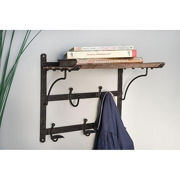 Vintage Train Coat Rack and Shelf