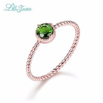 I&Zuan 14K Rose Gold Simple Rings for Women Natural Tourmaline Round Stone Engagement Gift Chic Accessories Fine Jewelry 0013-3