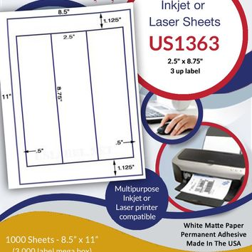 "US1363 - 3 up 2.5"" x 8.75"" inkjet or laser label on a 8.5"" x 11"" sheet"