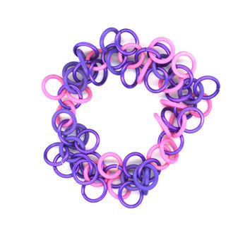 Chainmail Bracelet, Pink and Purple, Stretchy, Shaggy Loops, Clasp Free