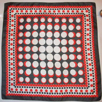 SALE: Vintage dotted scarf / big shawl / Polka dot / Pin up / Squares / Red, White, Grey, dots / headscarf / Mod Retro / Mad Men / Modern