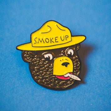 Smoke Up Soft Enamel  Pin by California Doom  Smokey the Bear Weed Pot Smoker Marijuana Hippie Peace Doom