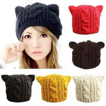 2018 Devil Horns Cat Ears Hat Beanie Crochet Knit Cap Fashion Autumn Women Knitted Woolen Hats Girls Winter Beanies Warm Caps