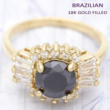 Gold Layered Women Baguette Multi Stone Ring, with Black Cubic Zirconia, by Folks Jewelry