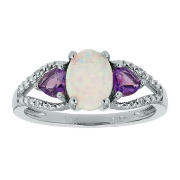.70 Ct Oval White Opal .20 Ct Trillion Amethyst .01 cttw Diamond Silver Ring