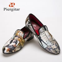 Piergitar 2016 Magazine-style Graffiti Cotton Fabric Men loafers with red comfortable cotton insole men causal shoes men's flats