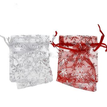 100 Pcs/lot Lovely Christmas Snowflake Print White Drawable Organza Bags 7x9 cm Wedding Gift Bags Small Candy Bags