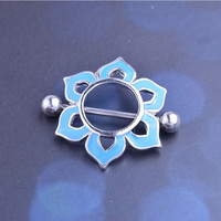 1 Pair Blue Flower Nipple Ring Surgical Stainless Hexagram Nipple Piercing Mamilo Sexy Nipple Rings Bar Body Jewelry Pircing