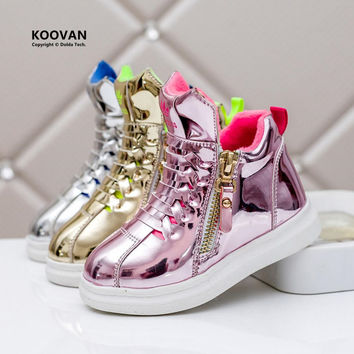 Koovan Children Sneakers 2017 Girls High Top Non-slip Boys Casual Shoes Bright Golden Silver Children Boots Kids Baby's Sports