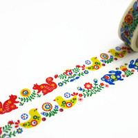 Folk Art Nature Washi Tape / / Rabbit, Squirrel and Bird Tape by Aimez le Style