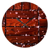 Cool Brown Wooden Ply texture With Wintry Snow Ice Large Clock