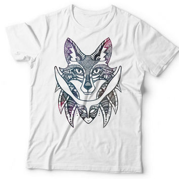Fox & Rabbit Watercolour T-shirt. Tribal Animal Galaxy Watercolor Original Graphic Tee. 100% Cotton White Unisex Tshirt S,M,L,XL,XXL,3XL