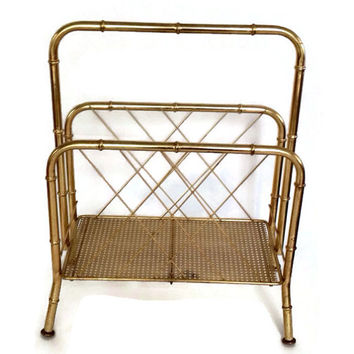 Mid Century Faux Bamboo Metal Magazine Rack, Hollywood Regency Decor, Gold Tone Metal, Mid Century