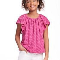 Textured Eyelet Swing Top for Girls   Old Navy