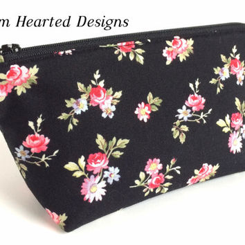 Small Black Floral Makeup Bag, Small Floral Zipper Pouch