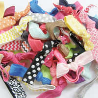Fold Over Elastic Hair Ties Grab Bag Ten (10) No Headache Ponytail Holders Yoga Bracelets