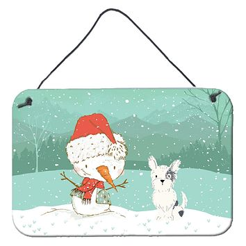 Black and White Terrier Snowman Christmas Wall or Door Hanging Prints CK2095DS812