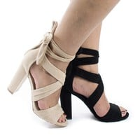 Morris16 Natural By Wild Diva, Peep Toe Strappy Leg Wrap High Block Heeled Sandals