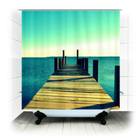 Fabric Shower Curtain  - Tomorrow Will Have to Wait - Photography, bathroom, home, decor, beach, pier, ocean, sea, blue
