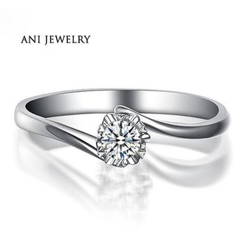ANI 18K White Gold (AU750) Women Wedding Ring 0.2 CT Certified I/SI Solitaire Round Cut Natural Diamond Twist Engagement Rings