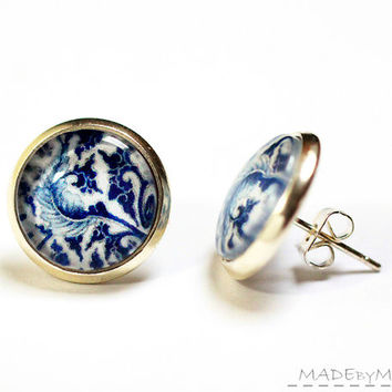 Blue Leaf Studs porcelain motif  Earrings feminine Jewelery, Free Shipping from MADEbyMADA