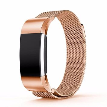 Original Milanese Loop Wrist Band Strap for Fitbit Charge 2 Link Bracelet Stainless Steel replacemet bands Magnetic Closure New