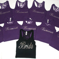 Bride Shirt Tank (10) Lace Back. Bridesmaids. Maid of Honor. Matron of Honor. Brides Entourage.S-XL, XXL, 2XL White. Black. Purple. Pink