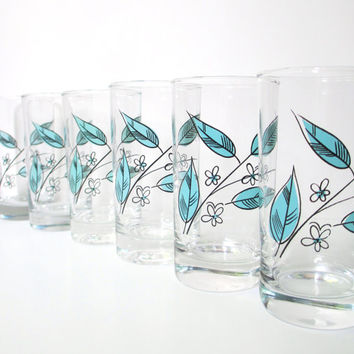 Vintage Juice Glasses - Set of Six Salem Biscayne Turquoise Drinking Glasses