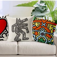 Collection Of Keith Haring Art Hand-Painted Pillows Emoji Euro  Home Decor Pillow Environment Enhance Gift
