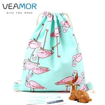 VEAMOR Bag for Girls School Shoes Fashion Flamingos Shoes Bags Canvas Travel Shoulders